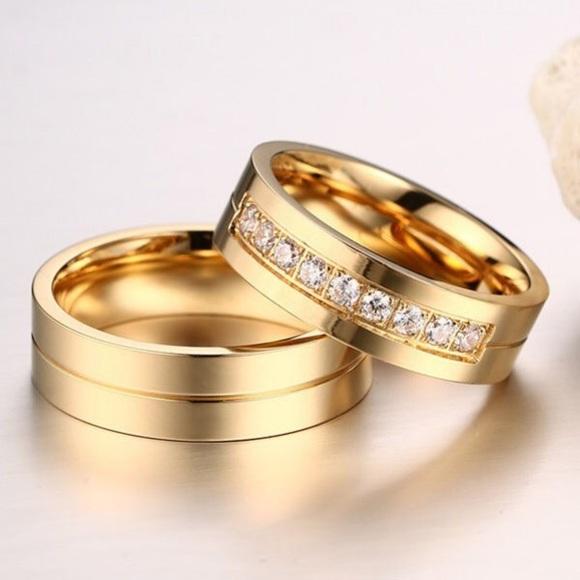 Korean titanium gold ring